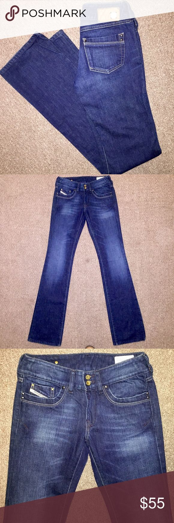 😍 Diesel Stretch Boot Cut Jeans 😍 Gorgeous Diesel Ronhar Dark Wash Boot Cut Women's Designer Jeans in size 26 , with an inseam of 34. These are stunning and in excellent condition! 😍😍 Diesel Jeans Boot Cut