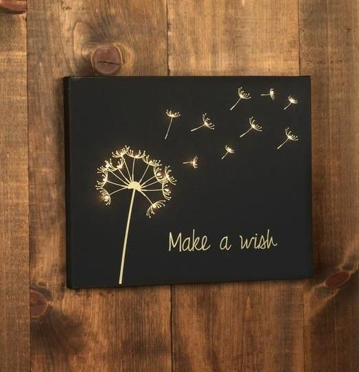 Make a wish lighted wall hanging project.  This is a very easy project.  I would love to see this done in something other than black for a child's room or a family room maybe.  My brain is going nuts with other options on how this could be made...even with rustic wood instead of the store bought frame.  Sweet!