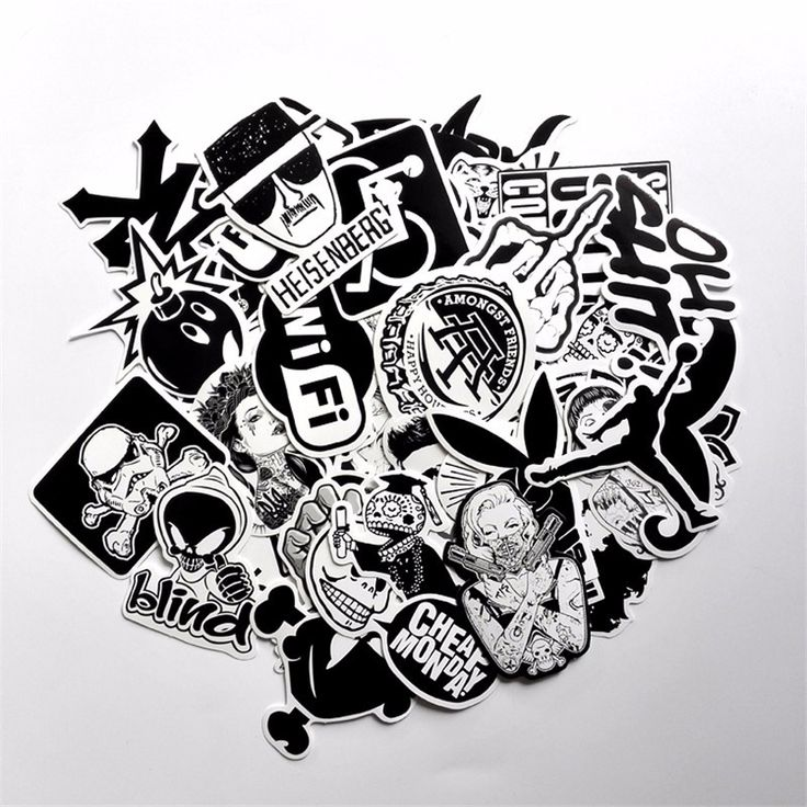 60 PCS Black and White Cool DIY Stickers For Skateboard Laptop Luggage Snowboard Fridge Phone Toy Styling Home Decor Stickers