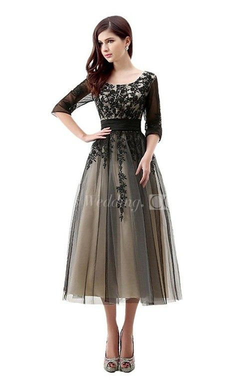 3/4 Sleeved Tea Length Dress With Appliques And Illusion