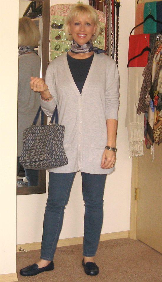 Dreamz~n~Wishz        : OOTD:  Gray Cardigan, Navy Loafers, Blue Jeans