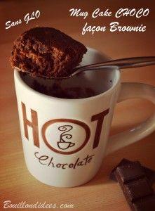 Mug cake choco façon brownie, sans GLO (sans gluten, sans lait, sans PLV, sans lactose, ni blanc d'oeuf)