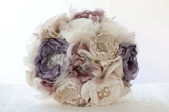Fabric Flower Wedding Bouquet, Bridal Brooch Bouquet, Purple Bouquet, rhinestone and pearl brooches, custom colors, Victorian Lilac
