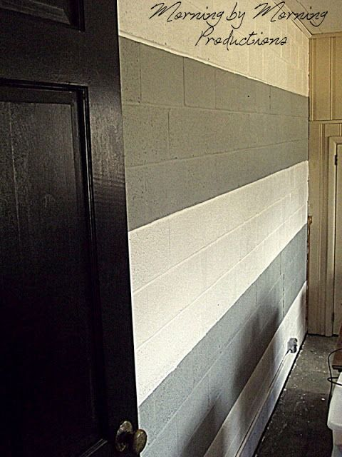 Painted Block Wall Photo Gallery | very nice fat grey stripes. Very pretty. Very wrong with my brick wall ...