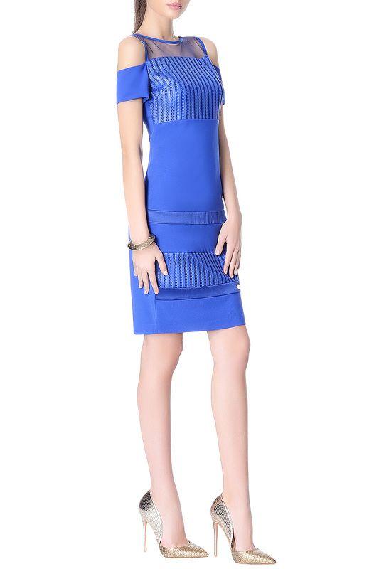 обтягивающее платье длины мини, из трикотажной ткани, приталенного силуэта, синего цвета