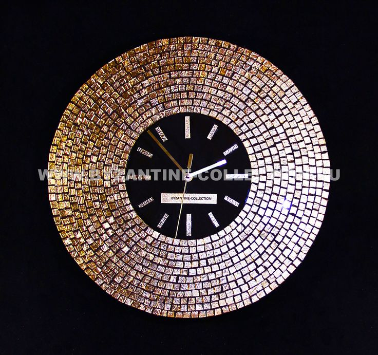 """Часы Настенные в стиле Арт-Деко  """"Золотое Солнце"""", Циферблат из черного цветного стекла, коллекция """"Золото Флоренции"""", желтое золото Внешний размер часов - 45 см, размер циферблата - 21 см, толщина вместе с механизмом - 4.5 см. Механизм кварцевый плавного хода. Настенные в стиле Арт-Деко, """"Золотое Солнце"""", коллекция """"Золото Флоренции"""" из смальты желтого золота."""