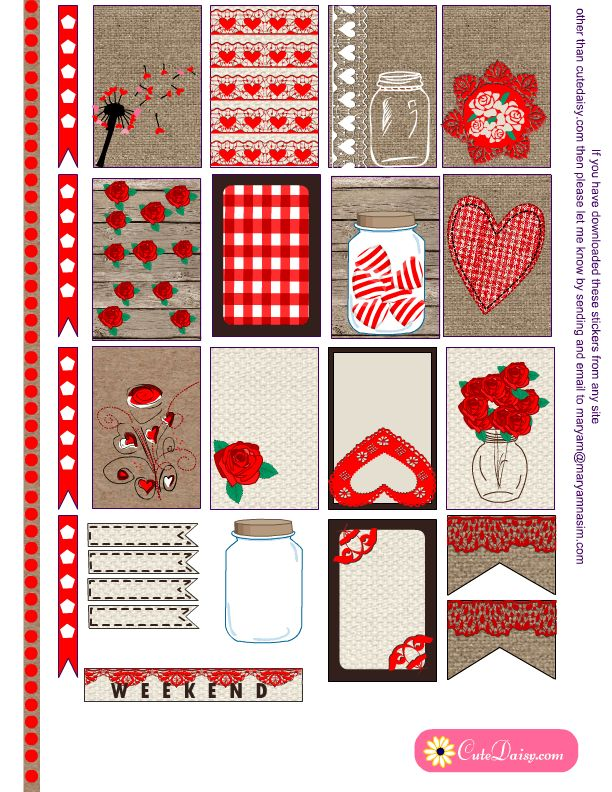 Free Printable Valentine's Day Rustic Planner Stickers