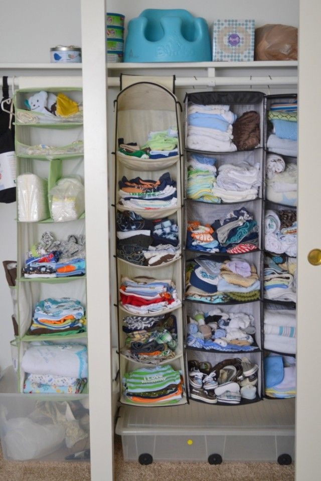 baby closet organization without shelves...good idea, just maybe add bins to the compartments to keep things neater.