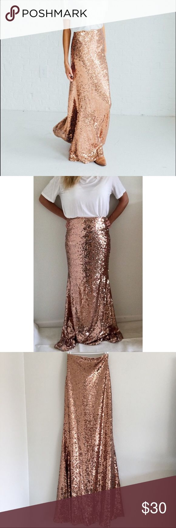 Rose Gold Sequin Maxi Skirt Rose gold sequin maxi skirt from shopmaxwell.com boutique. Color on last photo is off- other photos are more accurate. Skirts Maxi