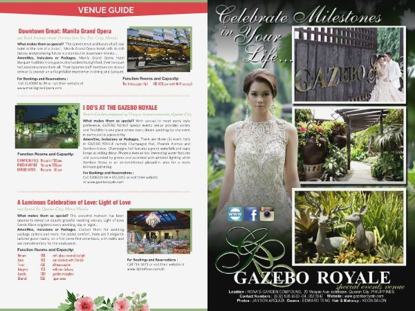 Gazebo Royale is a venue for special events. Find them at the revised edition of WEDDING DIGEST LUXE FOR LESS. You can Browse for FREE at www.weddingdigets.com.ph  #WeddingDigestPh #emagazine #LuxeforLess #weddings #iloveweddings #venue #weddingvenue