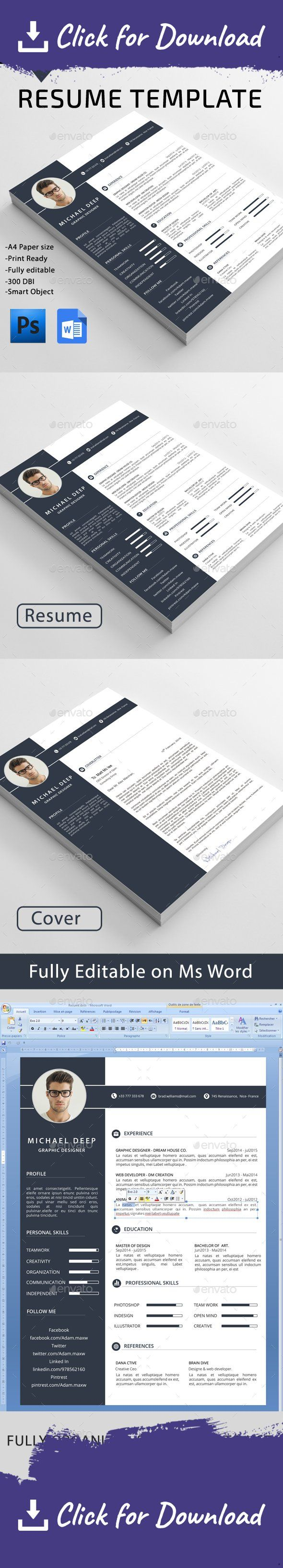 "3-piece resume, a4, blue resume, bright, career, clean, clean cv, clean resume, cover letter, creative resume, curriculum vitae, cv, cv design, cv resume, cv template, design, editable, elegant resume, job, light, professional resume, red resume, resume, resume template, simple, simple resume, swiss resume, white, work Resume ""Resume"" is the super clean, modern and professional resume cv template to help you land that great job. The flexible page designs are easy to use and customise, s..."