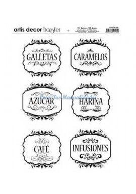 Papel transfer Etiquetas cocina Artis Decor, 28,4 x 21,8 cm.