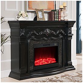 """62"""" Grand Black Electric Fireplace at Big Lots."""