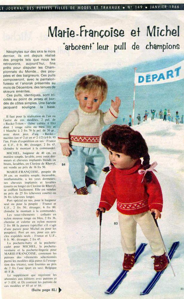 PAR AMOUR DES POUPEES :: M&T 1966-01 Pulls de ski pour Marie-Françoise et Michel (tricot)