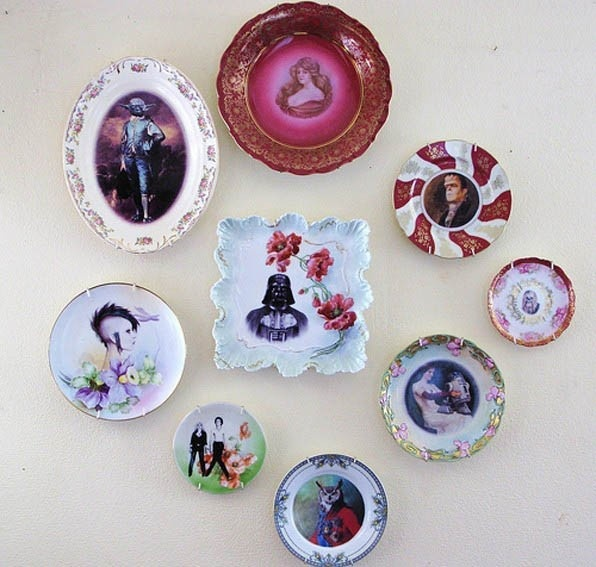 Altered Vintage Plates by Beat Up Creations