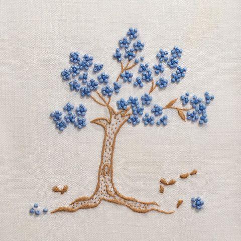 Heritage Jacaranda Blue Towel - Ivory Linen – Henry Handwork