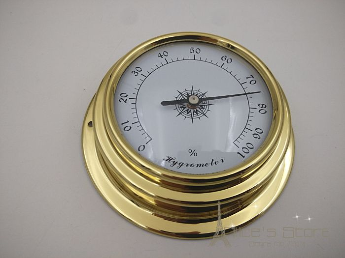 "NEW 1pcs 3""  Brass Case Traditional Weather Station  Analog Hygrometer for Humidors Gold Metal (White Dial)  h8151"