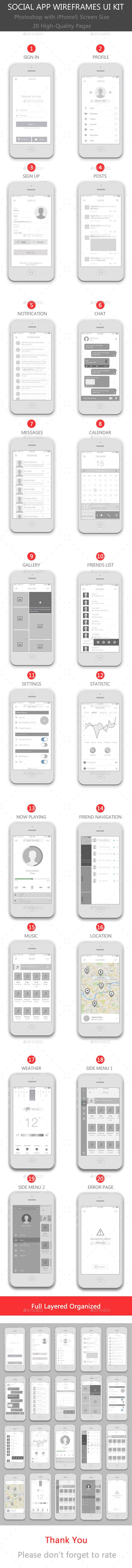 Social App Wireframes User Interface Kit Template #design #ui Download: http://graphicriver.net/item/social-app-wireframes-ui-kit/11182243?ref=ksioks