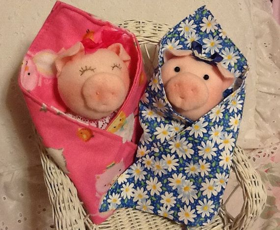Piggy in a Blanket Swaddle Baby Animal PDF Doll by PeekabooPorch
