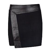 Wrap: Ted Baker Zyana Wrap Detail Leather Skirt, Black