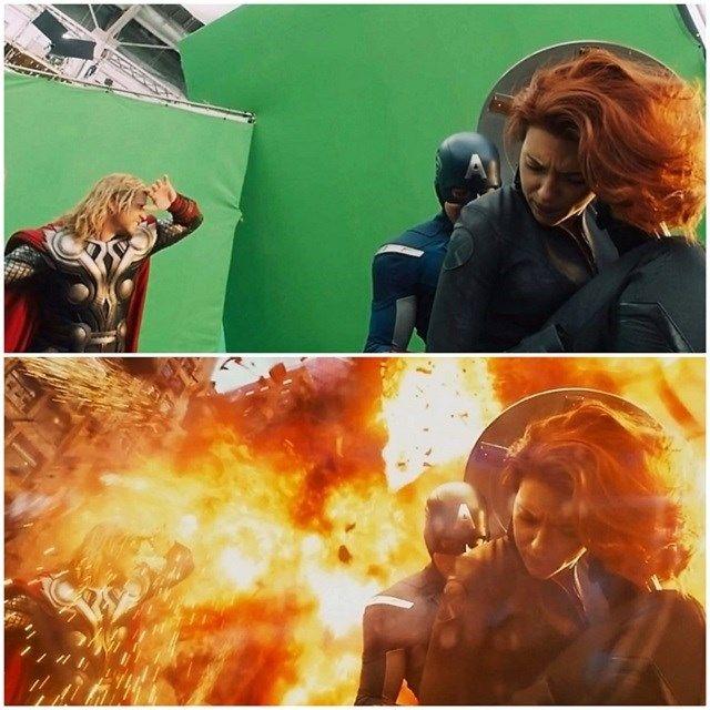 """""""Os Vingadores"""" antes e depois dos efeitos especiais."""