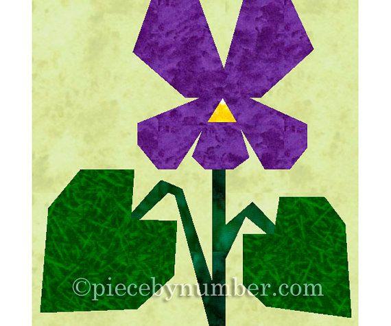 Violet flower quilt block paper pieced by PieceByNumberQuilts
