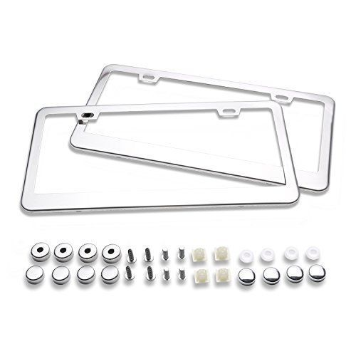 Ohuhu 2 Stainless Steel Polish Mirror License Plate Frame + Chrome Screw Caps #Ohuhu