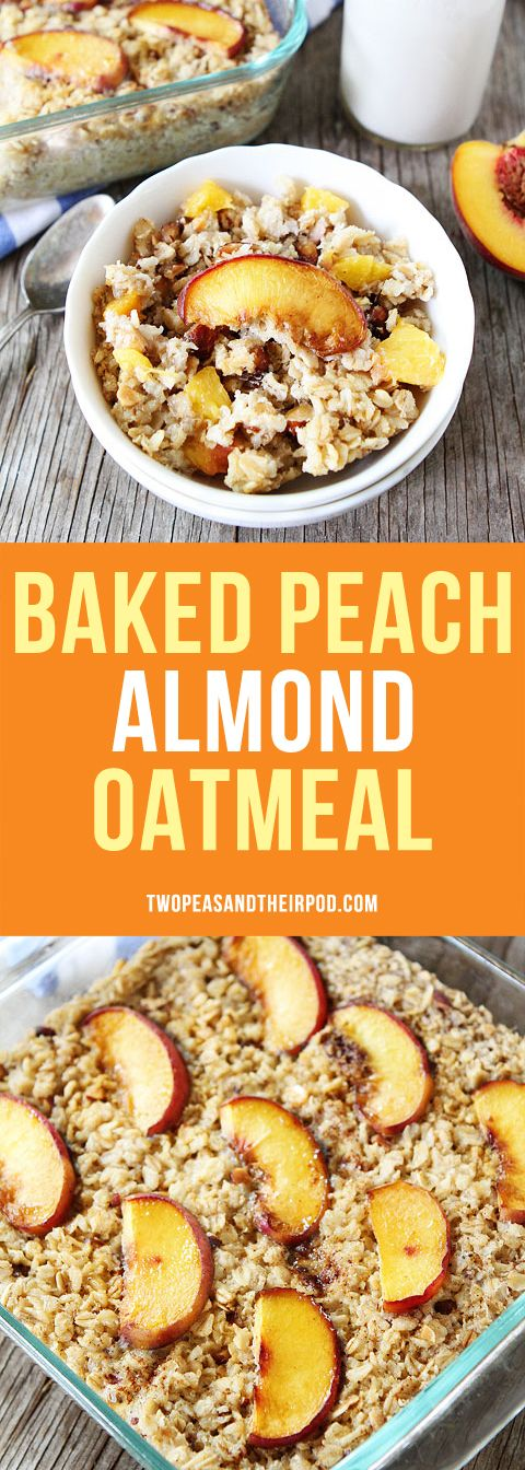 Baked Peach Almond Oatmeal-this easy baked oatmeal recipe with fresh peaches and almonds is a family favorite breakfast. Make a pan and reheat all week for easy breakfasts!