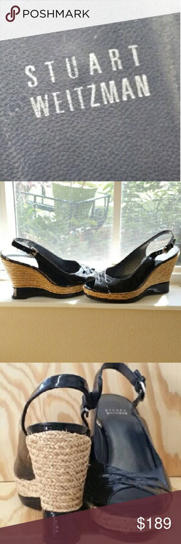 Stuart Weitzman Wedge Stuart Weitzman Patent leather peep toe slingback espadrille wedge pump. Say That 3x fast! These shoes have everything going for them. SW shoes= classics & can be worn w/ everything you own for years! 4.5 Heel 1 Wedge adjustable @ an