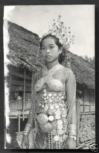 Details About Dayak Girl Photo Costume Jewels Borneo