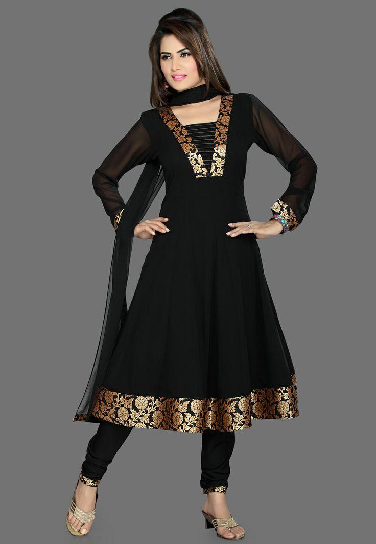 Black Faux Georgette Readymade Anarkali Churidar Kameez @ $65.00
