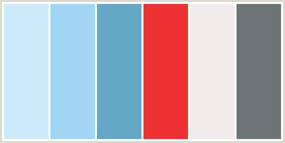 ColorCombo134 - ColorCombos.com color palettes, color schemes, color combos with hex colors codes #CEEBFB, #A3D6F5, #66A7C5, #EE3233, #F0ECEB, #6C7476 and color combination tags BLUE, EBB, FOUNTAIN BLUE, HAWKES BLUE, LIGHT BLUE, NEVADA, POMEGRANATE, RED, RED ORANGE, SAIL, TEAL.