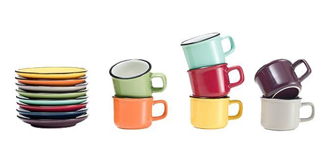 """TAZZINA CAFFE' """"Marmitttina"""" - BRANDANI GIFT GROUP  Tazzina in ceramica con piattino, rivestita in pietra.  Altezza: 5.5cm Diametro Piatttno: 10cm  Disponibile nei colori: BORDEAUX, MARRONE, ARANCIONE, GIALLO, VERDE, AZZURRO E GRIGIO."""