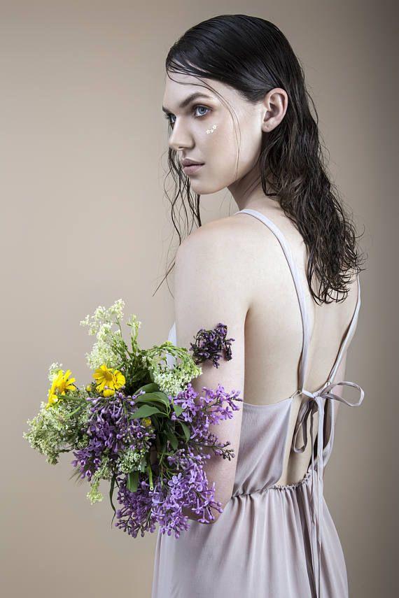 lavender dress summer dress open back dress romantic dress
