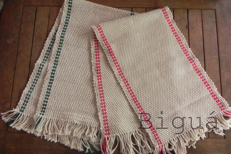 Caminos de mesa tejidos a #telar