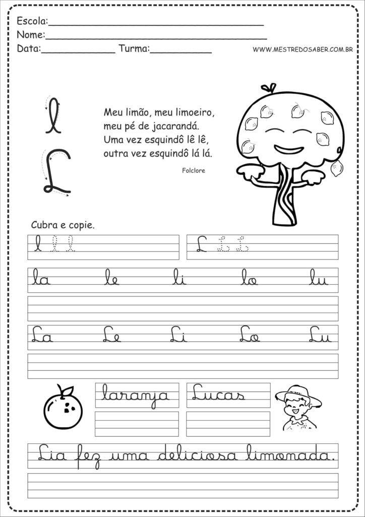 12 Caderno De Caligrafia Para Imprimir Letra L Atividades Com