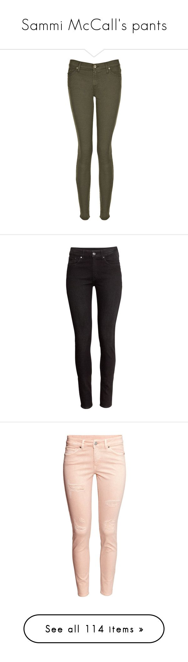 """Sammi McCall's pants"" by samtiritilli ❤ liked on Polyvore featuring jeans, olni, stretch skinny jeans, stretch jeans, olive skinny jeans, stretchy jeans, denim jeans, pants, bottoms and h&m"