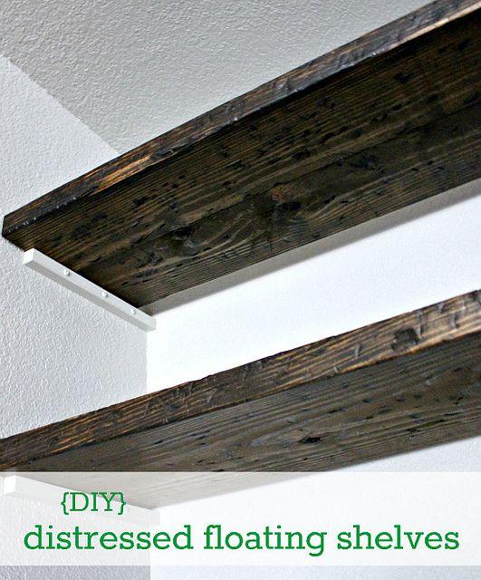 DIY Distressed Floating Shelves