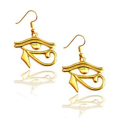 golden eye of Horus egyptian drop earrings