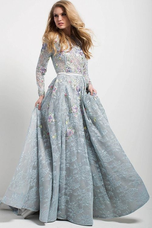 719ac6fc16a Jovani - 54550 Long Sleeve Multi-Floral Illusion Lace Long Prom Dress  (fully lace