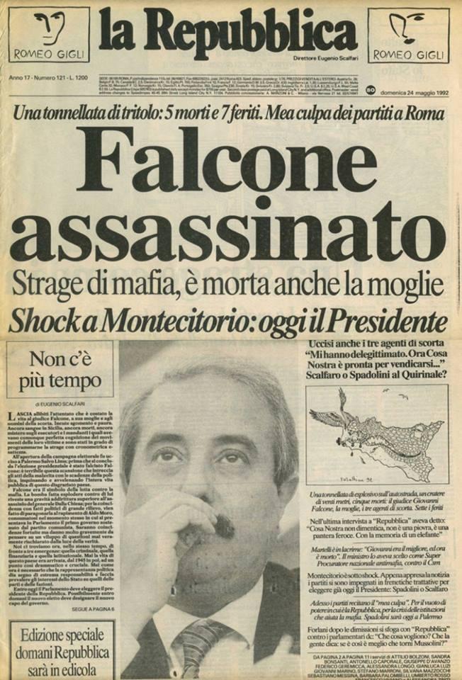 24 maggio 1992, la prima pagina di Repubblica