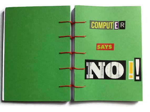Компьютер говорит НЕТ !!  Коптский журнал зеленая рука связана с красной строчкой 192 простые белые страницы уникальный ретро книги для Научно-фантастические Мастер Шик вентилятора