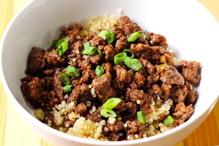 Korean beef and quinoa bowl