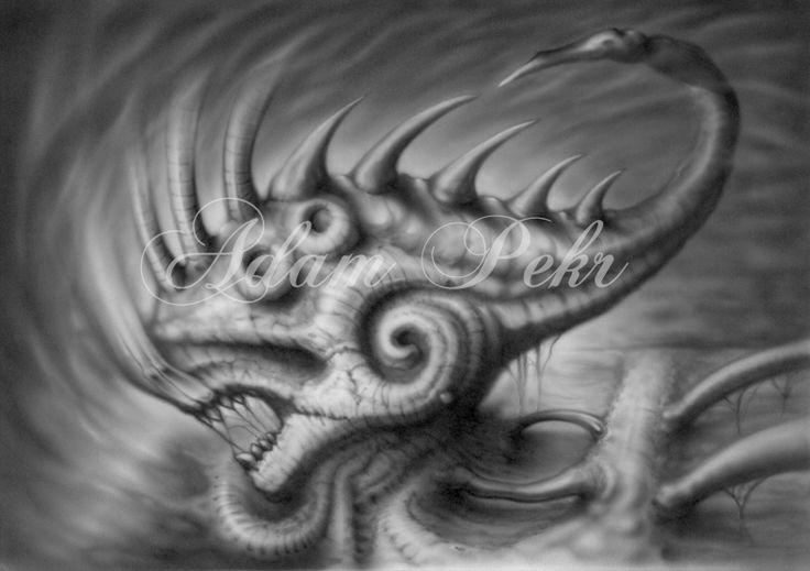 Fish Surreal Black and Grey Airbrush Artwork