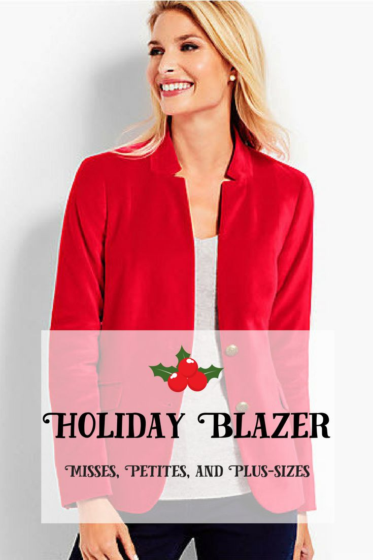Gorgeous velveteen blazer, available in misses, petites, and plus-sizes. Perfect for holiday parties! #holidaywear #plussize #petites #misses #velvet #velveteen #blazer #redvelvet #ad