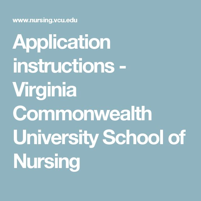 Application instructions - Virginia Commonwealth University School of Nursing