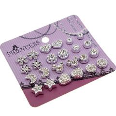 Clear Crystal Magnetic Clip On Stud Earrings Fashion Jewelry for Kids Teen Girls Womens