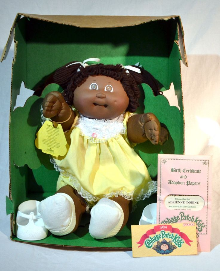 Cabbage Patch Doll 1984 Adrienne Dorine in Box Black w/Papers