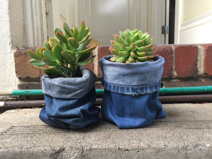 Customised recycled denim pot covers