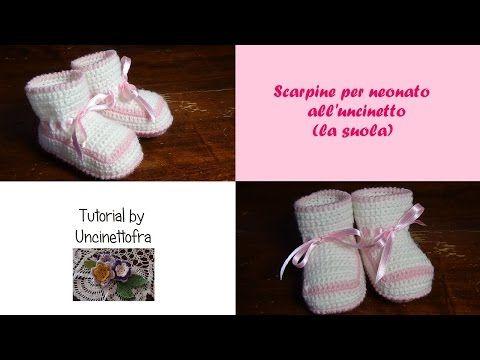 scarpine neonato all'uncinetto tutorial (la suola) - YouTube